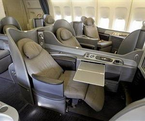 This Oct. 28, 2011, photo shows the new first class interior section of a United Airlines 747 plane at San Francisco International Airport.