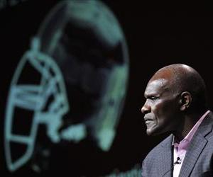 Former Giants linebacker Harry Carson looks participates in a panel discussion on the Frontline documentary League of Denial, during the PBS Summer 2013 TCA press tour, August 6, 2013.