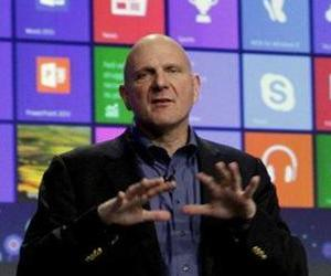 Microsoft CEO Steve Ballmer gives his presentation at the launch of Microsoft Windows 8, in New York, Oct. 25, 2012.