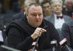 Internet millionaire Kim Dotcom speaks during the Intelligence and Security select committee hearing at Parliament in Wellington, New Zealand, Wednesday, July 3, 2013.