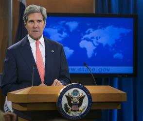 Secretary of State John Kerry speaks at the State Department about the situation in Syria.