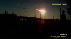 In this frame grab from dashboard camera video, a meteor streaks through the sky over Chelyabinsk, Russia.