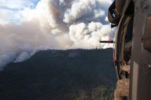 The view from one of the National Guard helicopters fighting the blaze.