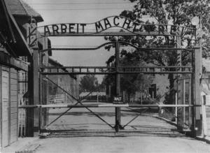 An undated image shows the main gate of the Nazi concentration camp Auschwitz in Poland, which was liberated by the Russians, January 1945.