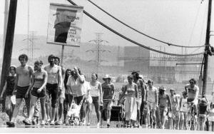 In this Aug. 6, 1979, photo, protesters march past the Vermont Yankee nuclear power plant in Vernon, Vt.