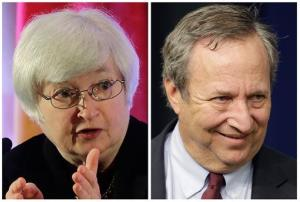 This photo combo shows Fed Vice Chair Janet Yellen, left, and former Treasury Secretary Lawrence Summers. They're the leading candidates to replace Ben Bernanke.