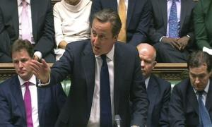 Britain Prime Minister David Cameron speaks during a debate on Syria Thursday.