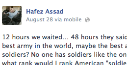 A post on a page supposedly by Hafez Assad.