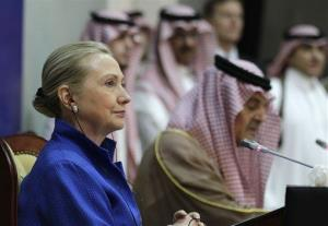 In this 2012 file photo, former Secretary of State Hillary Rodham Clinton listens to Saudi Foreign Minister Prince Saudi al-Faisal speak.