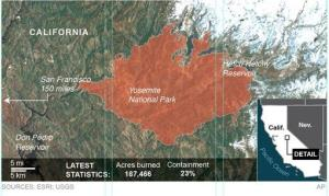 A look at the area of the Rim Fire in Yosemite National Park in California.