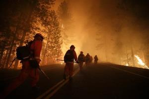 Inmate firefighters walk along state Highway 120 as firefighters continue to battle the Rim Fire near Yosemite National Park.