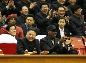 Former NBA basketball player Dennis Rodman with North Korea's Kim Jong Un at a basketball game earlier this year.