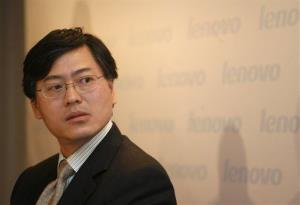 Yang Yuanqing, chairman of Lenovo Group, attends a press conference in Hong Kong.