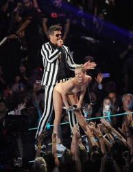 Robin Thicke and Miley Cyrus perform at the MTV Video Music Awards on Aug. 25.