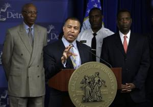 Detroit's new police chief James Craig speaks during a news conference in Detroit, Wednesday May 15, 2013. Craig plans to finish his job as Cincinnati chief and start in Detroit by July 1.