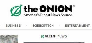 The Onion's logo is seen in this screenshot from its website.
