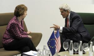 Secretary of State John Kerry meets with European Union official Catherine Ashton in Lithuania Saturday.