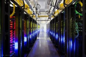 The campus-network room at a Google data center in Council Bluffs, Iowa.