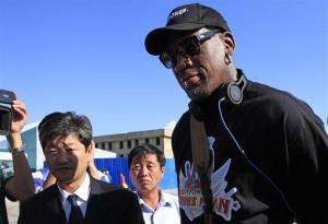 Former NBA star Dennis Rodman arrives at Pyongyang airport, North Korea last week.