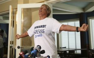 Endurance swimmer Diana Nyad talks to the media after arriving in Key West last week.