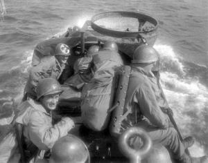 An American amphibious vehicle crosses an Italian lake during World War II.