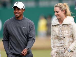 Tiger Woods and Lindsey Vonn, are seen together during a practice round ahead of the British Open Golf Championship, Muirfield, Scotland, Monday, July 15, 2013.