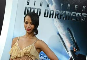 Zoe Saldana arrives at the LA premiere of Star Trek Into Darkness at The Dolby Theater on Tuesday, May 14, 2013 in Los Angeles.