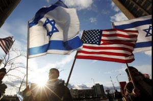 File photo of Israeli and American flags.