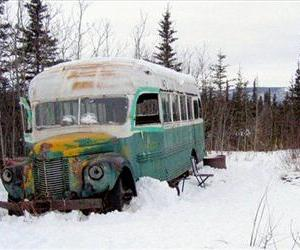 The abandoned bus where Christopher McCandless starved to death in 1992 is seen in this March 21, 2006 photo.