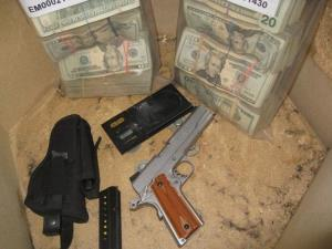 The handgun and cash.