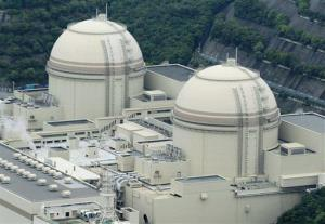 Reactors No. 3, right, and No. 4 stand at Oi nuclear power plant operated by Kansai Electric Power Co., in Oi town, Fukui prefecture, western Japan.