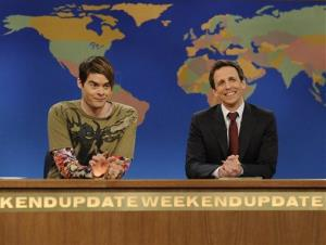 Bill Hader, portraying the character Stefon, left and Seth Meyers on Saturday Night Live.