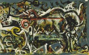 In this publicity image released by MoMA, New York, Jackson Pollock's 1943 Oil, gouache, and plaster on canvas titled, The She-Wolf, is shown. Pollock was among the artists imitated in forgeries.