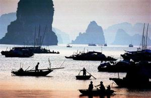 In this file photo, Vietnamese fishermen start their morning fishing in Ha Long bay in northern Quang Ninh province.