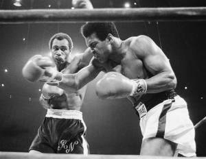 Sept. 10, 1973: Muhammad Ali, right, winces as Ken Norton hits him with a left to the head during their re-match at the Forum in Inglewood, Calif.