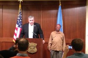 Glen James (right) during a ceremony thanking him for his honesty.