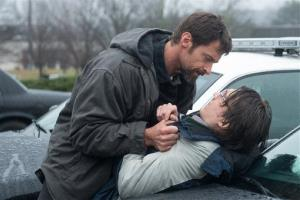 Hugh Jackman and Paul Dano in a scene from Prisoners.
