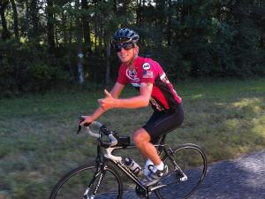 Jacob Landis says he will complete his trip when doctors allow him back on the bike.