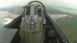 The unmanned F-16 in flight.