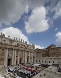 Pope Francis celebrates his first canonization ceremony in St. Peter's Square at the Vatican.