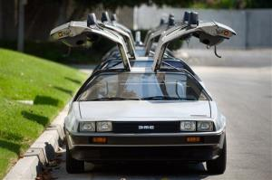 This file photo shows DeLorean cars parked outside the DeLorean Motor Company in Huntington Beach, Calif.