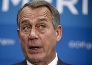 House Speaker John Boehner of Ohio speaks to reporters on Capitol Hill in Washington, Thursday, Sept. 26, 2013, after a closed-door strategy session.