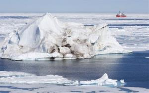 File photo of a Canadian Coast Guard icebreaker (in background) on its annual voyage through Canada's Arctic and the Northwest Passage.