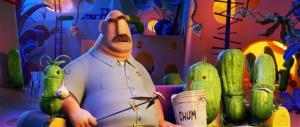 Tim Lockwood, voiced by James Caan, with the Pickles in a scene from Cloudy with a Chance of Meatballs.