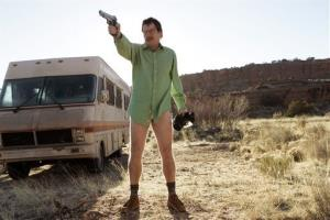 Walter White, played by Bryan Cranston, next to the Winnebago he uses as a mobile meth lab in the pilot episode of Breaking Bad.