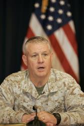 US marine Brig. Gen. Charles M. Gurganus speaks to reporters at a press conference  in Baghdad's heavily fortified Green Zone in 2007.