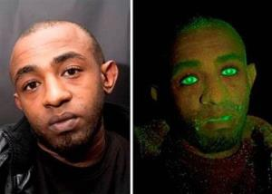 Thief Yafet Askale, 28, as seen normally, left, and under ultra violet light, after his arrest.