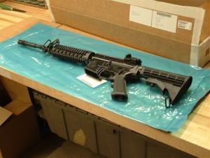 In this March 27, 2008, file photo, an M4 rifle is displayed at the Colt Defense Plant in Hartford, Conn.