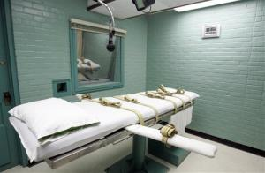 The gurney in the death chamber is shown in this 2008 file photo from Huntsville, Texas.