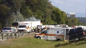 In this image released by WVLT -TV, authorities work at the scene of the accident in Jefferson County, Tennessee, Tennessee.